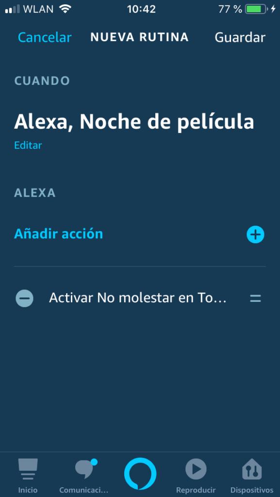Alexa rutina lista para usar