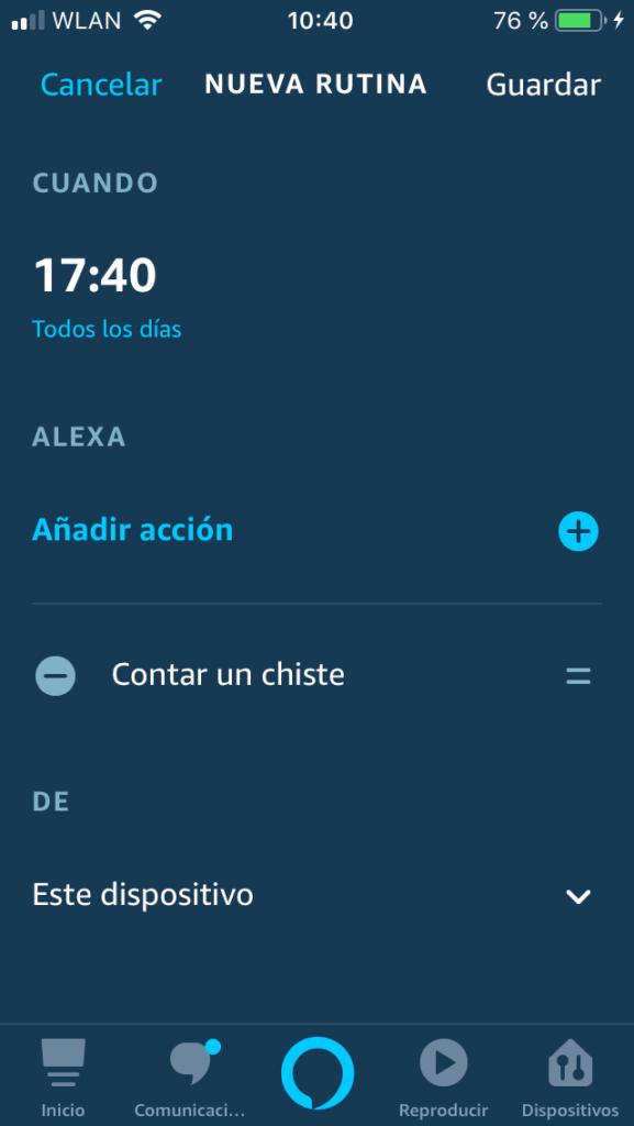 Alexa rutina: configuración
